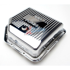 """Chrome Steel Chevy BOP GM Turbo 350 TH350 3"""" Deep Style Transmission Pan Finned"""