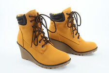 NEW Work Fashion Chunky High Wedge Heel Lace Up Ankle Cuff Bootie Size 6 - 11