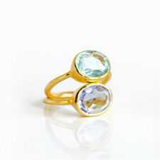 Unqiue 14k Gold Alexandrite And Aquamarine Oval Birthstone Rings Set Jewelry