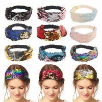 Women Girl Mermaid Retro Sequins Elastic Bling Dance Party  Hair Headband Wide
