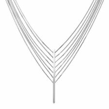 Rhodium Plated 7 Strand Bar Drop Necklace; FS; .925 STERLING SILVER
