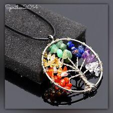Rainbow Crystal Gem Tree of Life Pendant Necklace Spiritual Chakra Healing Stone