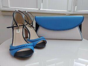 LK Bennett London Peep Toe High Heeled Shoes 35 And Matching Clutch Shoulder Bag