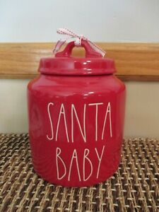 """NEW~ Rae Dunn Chubby Red Christmas Holiday Canister ~ """"Santa Baby"""" ~ Cookie Jar"""