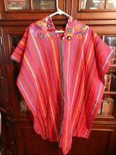 Women's Southwestern Serape Red with Stripes Embroidered Flowers Size Medium