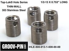 """4 Groov-Pin 1/2-13 x 0.753"""" Thin-Wall Tap-Lok Insert  IHLE50001315000000  S.S."""