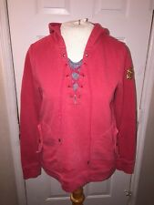 Lauren Jeans Co Top S Red Tie Front Anchor Patch Pocket Waist Pullover Hoodie