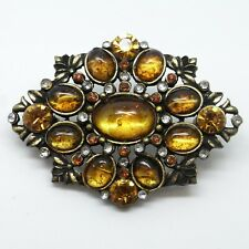 Large Yellow Stone Brooch - Vintage Pin / Badge