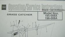 Orig 1975 MTD Products Inc Grass Catcher Parts List Models 195-008A & 196-008A