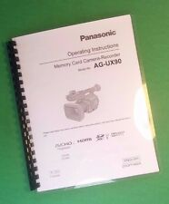 Laser Printed Panasonic Ag-Ux90 Video Camera 207 Page Owners Manual Guide