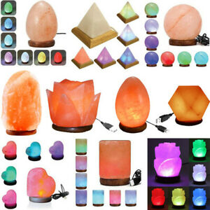 Pure Himalayan Salt USB Lamps Crystal Led Colour Changing All New Shapes 2020