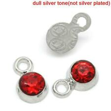 10 pcs July rhinestone birthstone charm Silver Tone 8mm, Red