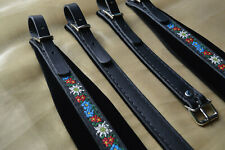 Accordion straps shoulder professional genuine leather and velvet 6cm from italy