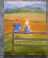CHILDREN REDHEAD BOY BLONDE GIRL LANDSCAPE FOLK ART COLORADO MOUNTAINS PAINTING