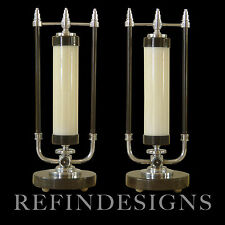 MARKEL MODERN STREAMLINE ART DECO CHROME MARBLE COLUMN TABLE LAMPS DESKEY ROHDE