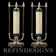 MARKEL MODERN STREAMLINE ART DECO CHROME MARBLE COLUMN TABLE LAMPS DESKEY ROHDE