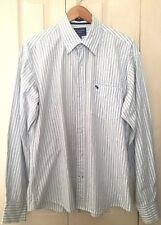 Abercrombie & Fitch para Hombre Blanco a Rayas camisa de mangas largas XL 100% algodón