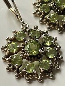 Vintage style sterling silver '925' and peridot stone droplet dangly earrings