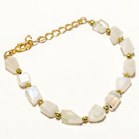 925 Solid Sterling Silver Gold Polished Natural Rainbow Moonstone Chain Bracelet