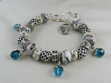 "BEAUTIFUL UNIQUE 23cm SILVER LOBSTER EUROPEAN STYLE CHARM BRACELET "" PEACE """