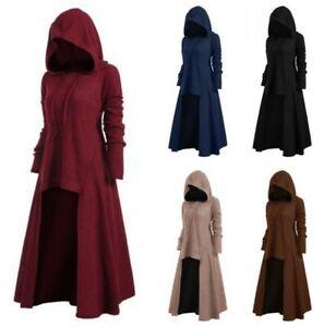 Plus Size Women Irregular High-low Maxi Dress Hooded Punk Gothic 5XL 4XL Dress D