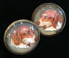 BEAUTIFUL PAIR OF ANTIQUE HORSE BRIDLE ROSETTES WITH  DOGS / FOX HOUNDS