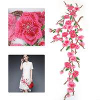 28 Zoll Blume BUgelbilder Gestickt Patch Rosa AufnAher nAhen PflaumenblUte Robe