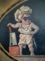 "Franz Vitzthum, peinture à l'huile datée 1925, ""die letzte stunde"" Allemagne"