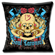 Vintage Skull Tattoo Cushion Cover 16 inch 40cm Soul Carousel Top Hat Flowers 13