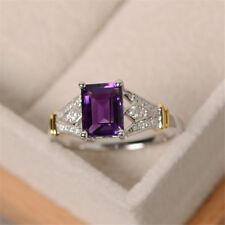 Women Elegant 925 Silver Wedding Rings Emerald Cut Birthstone Ring Size 6-10