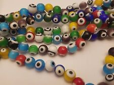 Handmade Lampwork Evil Eye Beads, Round, Mixed Color, about 10mm, hole: 1.5mm