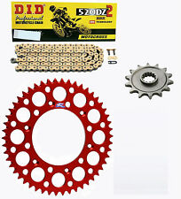 DID race chain & 13t/51t Renthal red sprocket kit Honda CRF250R 4st 2004-2016