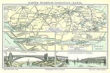 Alte historische Landkarte 1896: Kaiser Wilhelm =(Nordostsee=) Kanal. Hafen (M5)