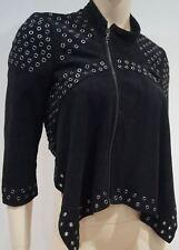 BCBG MAXAZRIA Black Faux Suede Silver Tone Stud 3/4 Sleeve Collarless Jacket S