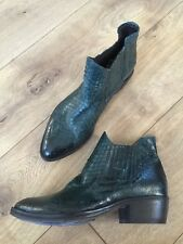 New KBR Leather Python Textured Western Chelsea Ankle Booties Boots Green Sz 35