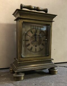 Rare Early Verge Fusee Carriage Mantel Table English French clock