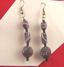 PURPLE WHITE & BLACK FIMO BEAD EARRINGS (68432)