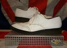 12502*Smart White Brogue Pointed Dr Doc Martens Shoes*Spiv Two Tone Punk*uk 8