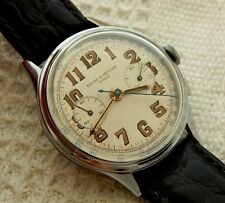 VINTAGE BAUME & MERCIER CHRONOGRAPH SILVER DIAL MIRROR NUMBERS 37.4MM CASE