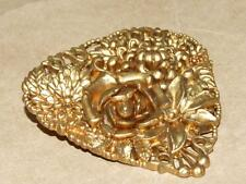 VTG Antique Victorian Gold Gilt Heart Shape Celluloid Flower Bouquet Pin Brooch