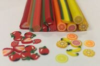 50 x Nail Art Fimo Fruit Slices +30 FREE Rhinestone gems Manicure Craft toppers