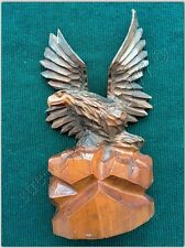 Wood Carved Folk Art hand carved Figurine USSR Eagle Bird atop of the cliff rare