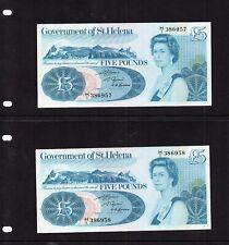 RARE CONSECUTIVE PAIR GOVERNMENT  St HELENA 1981 (LARGE)  £5  NOTES PREFIX  UNC