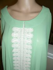 YA Los Angeles Women Large Green blouse top W/Collar &Ivory Lace trim NWT