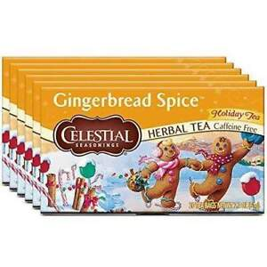 Celestial Seasonings Herbal Tea, Gingerbread Spice 20 Count, Pack of 6