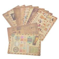 Craft Stamp Stickers 10 sheets Vintage Style Paper Seals Journal Scrapbook Cards