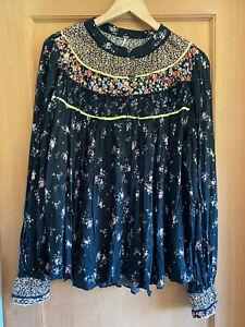 Free People Womens Black Combo Paloma Top, XL