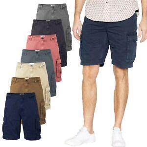New Mens Cargo Shorts Combat Knee Length Chino Summer Pants Pockets Work Cotton