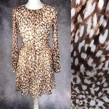 MANGO Leopard Animal Print Long Sleeve Skater Dress Silver Party Detail Size XS