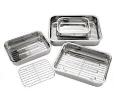 4PCS ROASTING TRAYS WITH GRILLS STAINLESS STEEL OVEN PAN DISH BAKING ROASTER 097